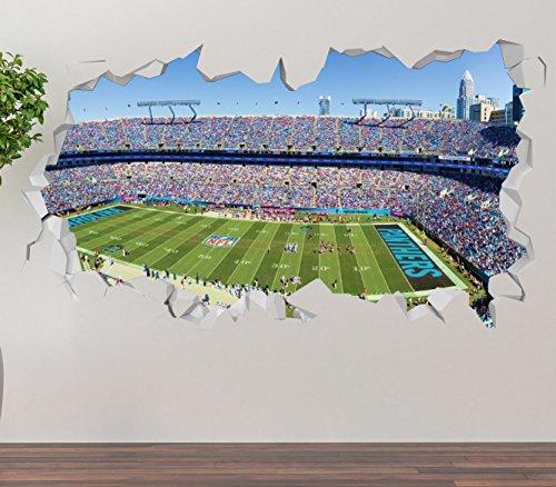 Carolina Panthers Bank of America Stadium Wall Decal Smashed 3D Sticker Vinyl Decor Mural NFL - Broken Wall - 3D Designs - OP252 (Large (Wide 40