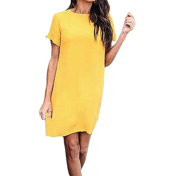 ALIKEEY La Mujer Short Sleeve Solid Print Casual con Cremallera Vestido Mini Vestido De Playa Pin