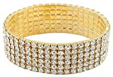 Goldtone with Clear Bridal Six Row Iced Out Elastic Stretch Bracelet (S-3388)