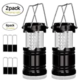 SuBleer 2 Pack Portable Outdoor LED Camping Lantern ,Bright Flashlights with 6 AA Batteries for Emergency,Hurricane,Outage, Backpacking,Hiking etc(Black,Collapsible)