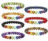 Besteel 7 Pcs Chakras Diffuser Bracelet for Men Women Natural Stone Yoga Bracelet 8mm Beads Bracelet, Adjustable T