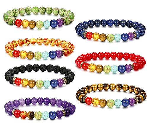 (Besteel 7 Pcs Chakras Diffuser Bracelet for Men Women Natural Stone Yoga Bracelet 8mm Beads Bracelet, Adjustable T )