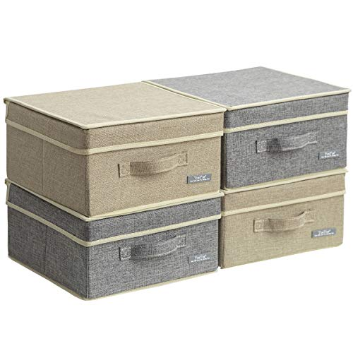 Small Storage Boxes With Lids (YueYue 4 Pack Small Fabric Storage Box with Lids, Foldable Linen Storage Box with Lids 4 Pieces Gray&Linen Set)