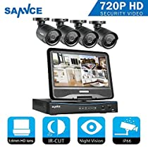 CCTV Camera System, SANNCE Outdoor 1080P Lite DVR Home Surveillance Security Camera Systems with 10 Monitor NO HDD(4xHD 1.0MP Bullet Camera, P2P Technology, IP66 Waterproof Night Vision)