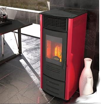 Estufa a PELLAS punto Fuego Sara 11 kW/320 M³ Color Rojo Rubí: Amazon.es: Bricolaje y herramientas