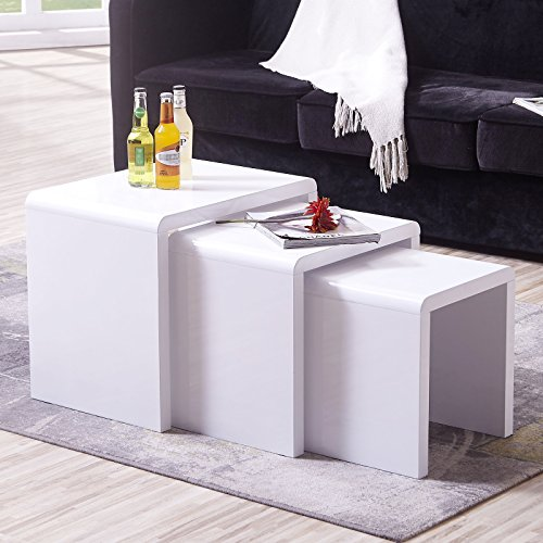 Mecor White Nesting Coffee Table, 3 Piece Modern End Side Table W/High Gloss White for Living Room (Set of 3, MDF)