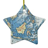 Christmas Ornaments Holiday Tree Ornament Vintage French Map of Indonesia Both Sides Star Ceramic Ornament Crafts Christmas Gifts