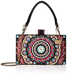Beaded Mandala Top-Handle Bag