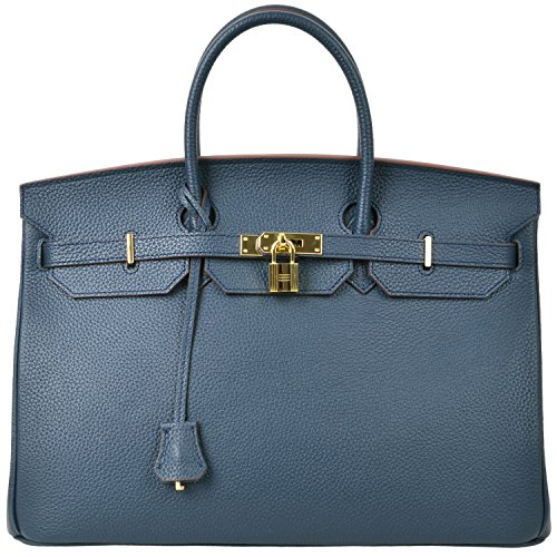 Cherish Kiss 40cm Oversized Padlock Business Office Top Handle Handbags (40cm with Gold Hardware, Royal Blue) by Cherish Kiss