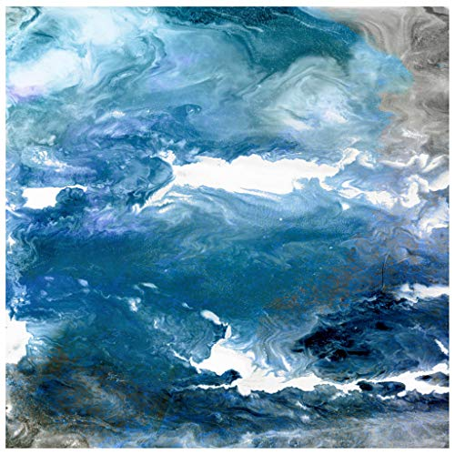 Empire Art Direct Blue Abstract Art,Frameless Tempered Glass Panel,Contemporary Wall Décor Ready to Hang,Living Room,Bedroom & Office 38 in. x 0.2 in. x 38 in. in,