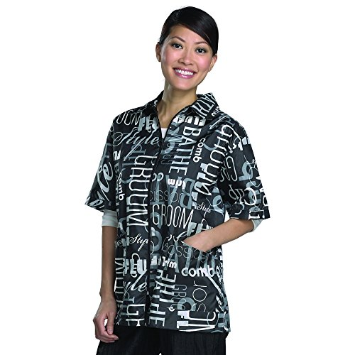 (Top Performance Graffiti Print Grooming Jackets - Lightweight, Easy-Fit Nylon Jackets for Professional and Amateur Pet Groomers - X-Large, Black )