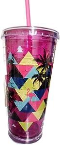 Cool Gear 24 oz Freezer Gel Chiller Tumbler (Purple Flamingoes)