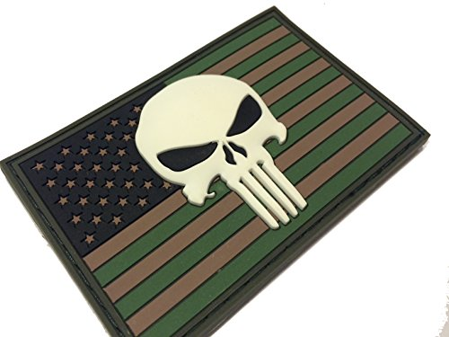 3d Multicam Glow in the Dark PVC Us Punisher Flag Patch Navy