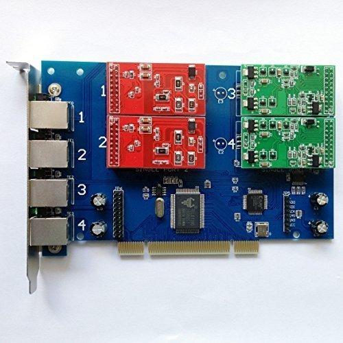 2 Fxs Port Pci Card - FXS FXO Card with 2 FXO + 2 FXS Ports,Quad Span Analog Card Supports Freepbx Elastix PCI Card