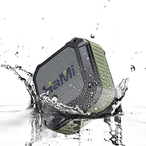 HaMi Waterproof Bluetooth Speakers, Portable Wireless Speakers 4.0 with 12 Hour Playtime , Rugged Shockproof Shower Speaker With Built-In Microphone [12-Month Warranty]- Army Green