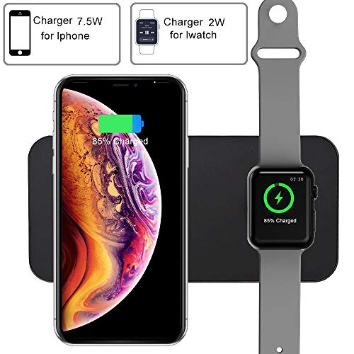 COSOOS Wireless Charger,2 in 1 Qi Wireless Charging Pad,Compatible with Apple Watch Series 1/2/3/4/Nike+/Edition,38 & 42mm,iPhone Xs MAX/XR/X/8,Samsung Galaxy S9/S8/Note 8(New Version)
