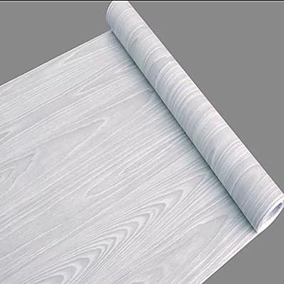 SimpleLife4U Light Gray Wood Grain Peel Stick Wallpaper for Living Room Bedroom Decoration 17.7 Inch by 32.8 Feet