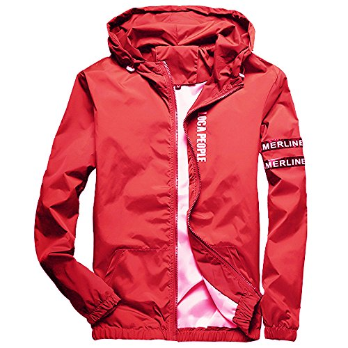 Homaok Men's Lightweight Breathable Jacket Small Red by Homaok