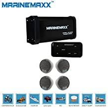 """MarineMaxx 500 Watts 4-Channel Boat ATV UTV Marine Bluetooth Amplifier Marine Stereo AUX In RCA Out+4pieces of 3"""" Waterproof Marine Speakers"""