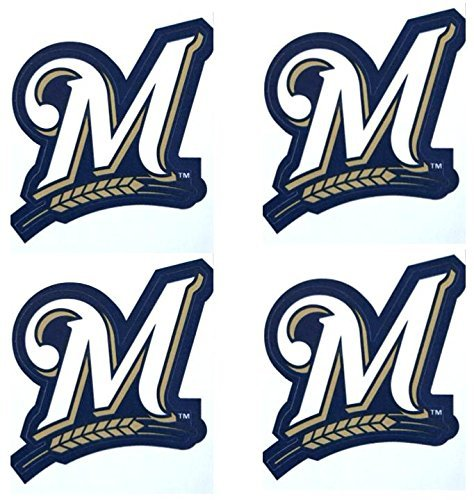 A/&A Global Industries Set of 4 Milwaukee Brewers Team Logo Stickers 4 Individual Major League Baseball Official Helmet Emblems MLB Brew Crew Sticker Set