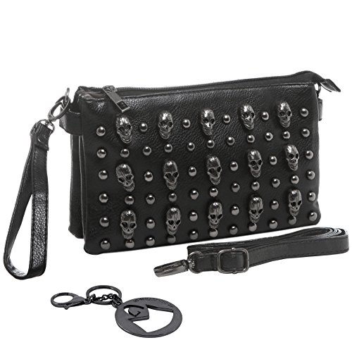 Cross Stud Body (MG Collection Quina Skulls Mini Studded Shoulder Cross Body Handbag, Black, One Size)