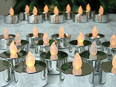 Silver Candles - Set of 48 Pcs - Each Candle has a Flickering LED light - Silver Wedding Anniversary - Wedding Decorations - Candles for Mirrored Centerpieces - Flameless Candles