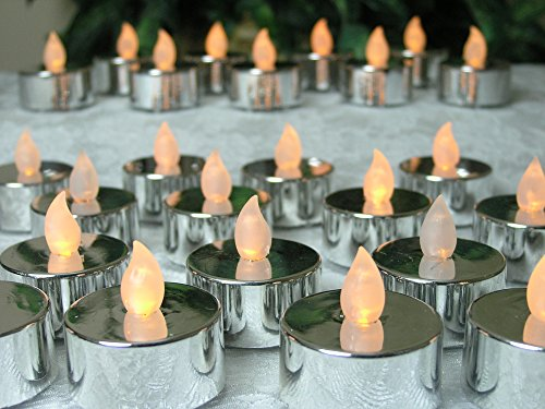 Silver Tealight Candles - Set of 48 Metallic LED Flickering Candles - Silver Wedding Anniversary - Wedding Decorations - Candles for Mirrored Centerpieces - Flameless Candles by Banberry Designs