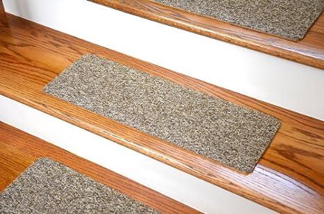 Dean Affordable Non Skid DIY Peel Stick Carpet Stair Treads Color Beige Brown Tweed Set Of 13