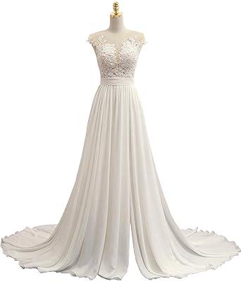 5a6d54f8eea SOLOVEDRESS Women s Sexy V Neck A Line Chiffon Beach Wedding Dress Long  Evening Dress Prom Gown