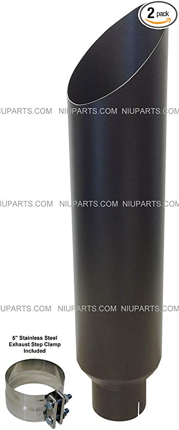 """8/"""" Polished Stainless Miter Cut Exhaust Stack  5/"""" ID Inlet 36/"""" Long"""