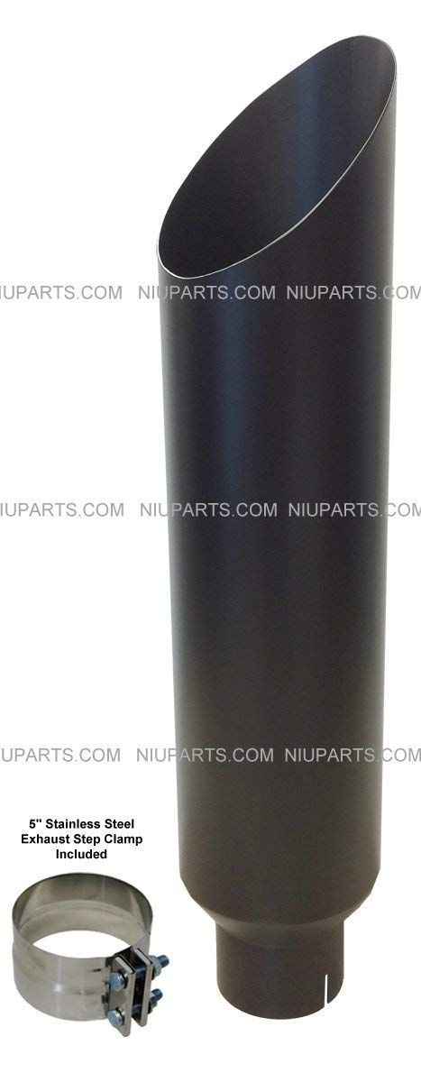 8' Flat Black Stainless Miter Cut Exhaust Stack Smokers 5' ID Inlet 36' with Clamp NIUPARTS