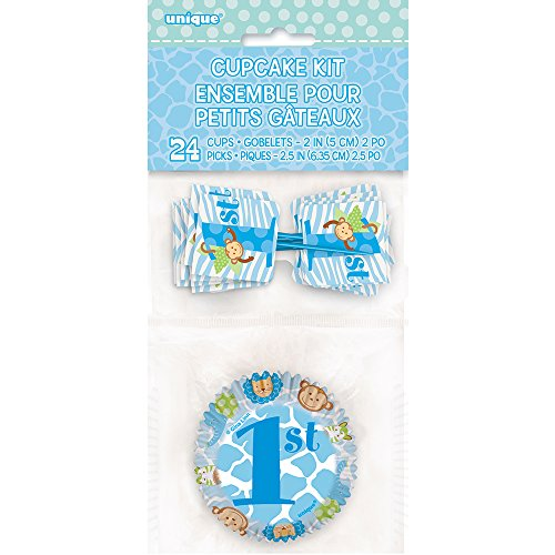 Blue Safari First Birthday Cupcake