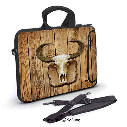 15 inch Laptop Case,Buffalo Bull Skull with Horns Hanging on Rustic Wooden Plank Image Print Neoprene Laptop Shoulder Bag Sleeve Case with Handle and Carrying & External Side Pocket,for Netbook/MacBoo