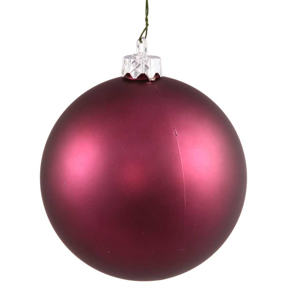 Vickerman Matte Finish Seamless Shatterproof Christmas Ball Ornament, UV Resistant with Drilled Cap, 8'', Plum
