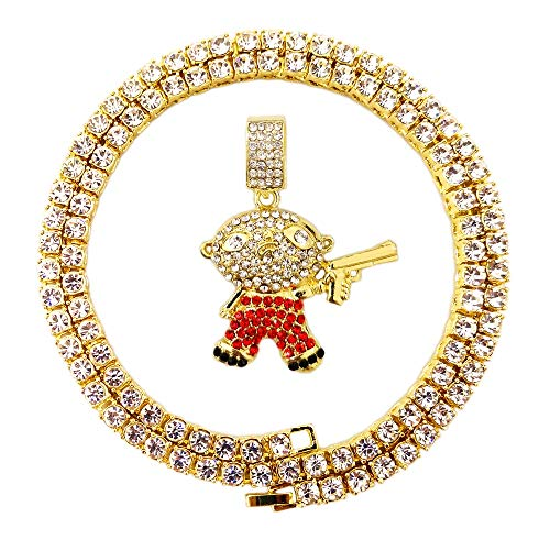 HH Bling Empire Mens Hip Hop Bling Iced Out 14K Gold Artificial Diamond Cartoon Characters cz Tennis Chain Necklace 22 Inch (Gun in Hand) (Griffin Jewelry)