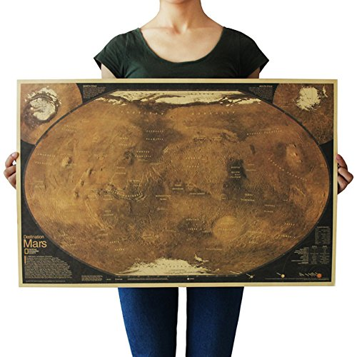 - Deco Space Vintage Retro Kraft Paper Poster - Mars Map - Creative Unframed Indoor Art Wall Decoration 72 x 48 cm / 29 x 19 inches