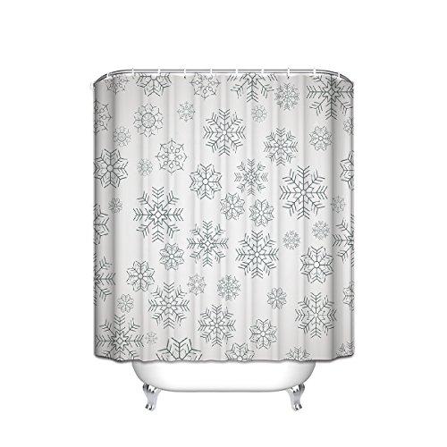 Custom Snowflake winter Grey shower curtain polyester waterproof