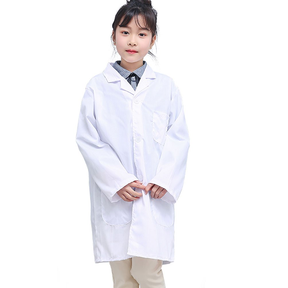 Kids Unisex Lab Coat for Doctor Scientist Chemist Role Play Costume Set (Medium, White)