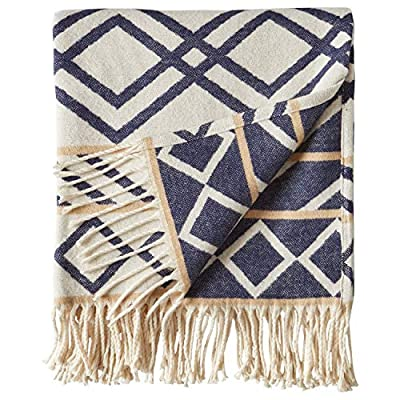 "Rivet Global Inspired Throw Blanket, Soft and Stylish, 50"" x 60"", Navy and Natural - Geometric prints bring a global flair to this eye-catching throw blanket. Neutral colors, fringed edges and super soft, all-cotton texture make it ideal for snuggling in any style bedroom, or for draping across a couch or sofa. 50"" x 60"" 100% Cotton - blankets-throws, bedroom-sheets-comforters, bedroom - 51mAj05psoL. SS400  -"