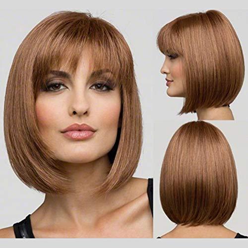 Short Bob Wig-Women's Ladies Full Head Straight Brown