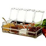 SHSYCER Acrylic Seasoning Box Seasoning Storage Clear Spice Rack Organizer Condiment Holder Container Spices ,with Plastic Spoons Set of 4