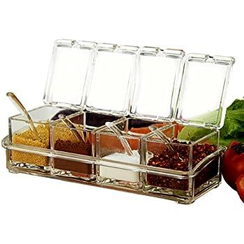 KRexpress 4pcs Acrylic Seasoning Box Seasoning Storage Clear Spice Rack  Organizer Condiment Holder Container Spices ,