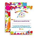 Art and Painting Themed Thank You Notes for Kids, Ten 4'' x 5.5'' Fill In The Blank Cards with 10 White Envelopes by AmandaCreation