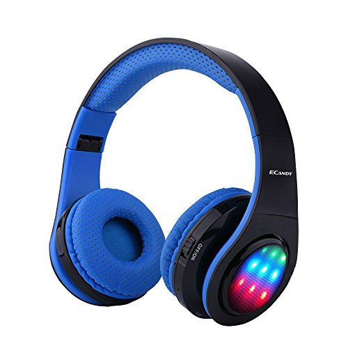 Ecandy Bluetooth Headphones w/Led Wireless/Wired Stereo Music Foldable Over-Ear HiFi Sound with Microphones Hands-Free Handsfree Calling for iPhone 6 6S Plus Samsung,Android Smartphone,Tablet (Blue)