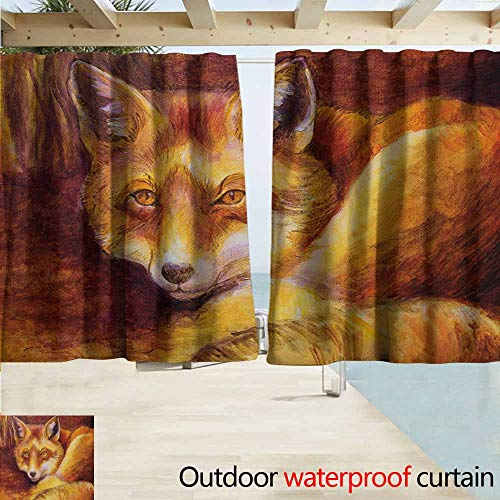 (Outdoor Blackout Curtains,Fox Monochromatic Fox Resting Painting Style Display Vibrant Animal Art,Rod Pocket Energy Efficient Thermal Insulated,W55x39L Inches,Yellow Orange Burnt Sienna)