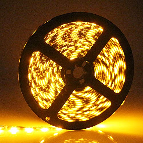 EverBright Led Strip Lights, Amber Led Strip Waterproof Flexible Light Strip PCB Black 16.4Ft 5050 300Leds for Home Kitchen Neon Undercar Lighting Kits Party Stage Decoration Tape Light