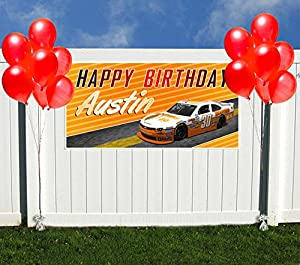 Yellow Sports Car NASCAR Birthday Banner Personalized Party Backdrop