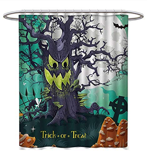 Halloween Shower Curtains Sets Bathroom Trick or Treat Dead Forest with Spooky Tree Graves Big Kids Cartoon Art Print Bathroom Accessories W69 x L75 Multicolor ()