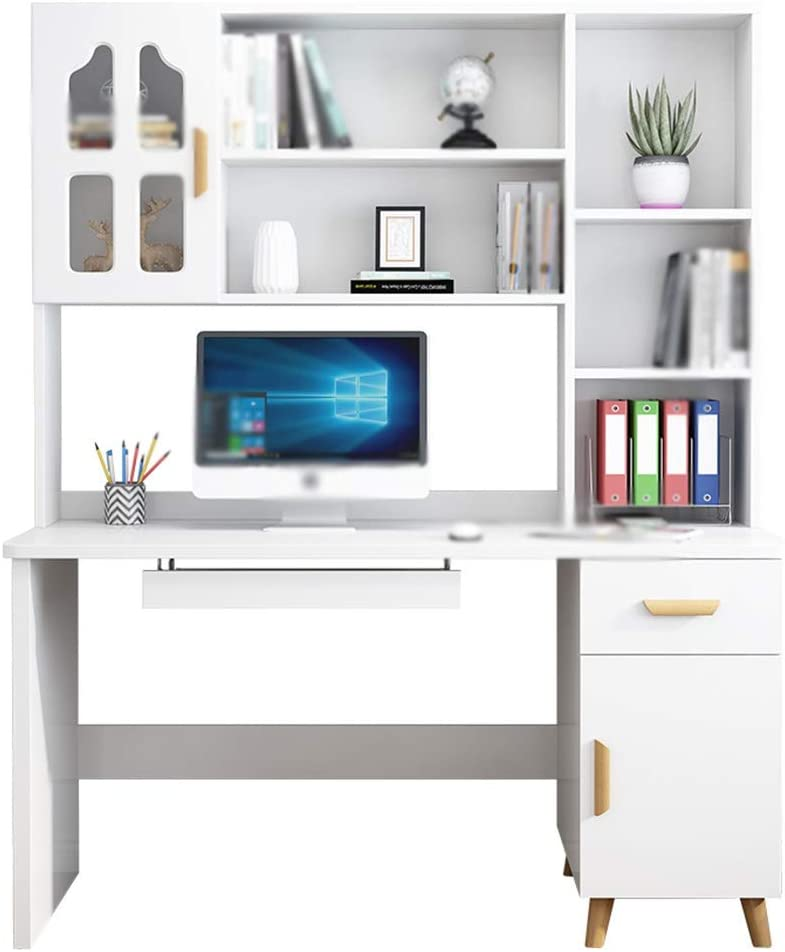 Computer Desks Computer Desk with Hutch, Studying Writing Table, Study Writing Table for Home Office, 55 Inch PC Laptop Table, Load 200KG (Color : White, Size : 12060180cm)
