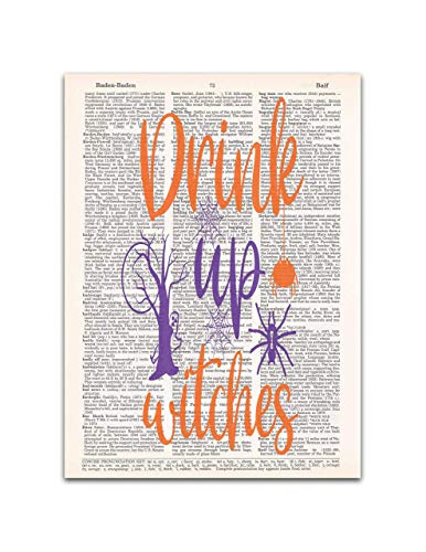 Drink Up Witches, Funny Halloween Print, Dictionary Page